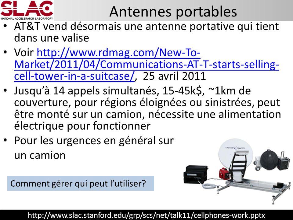 http://www.slac.stanford.edu/grp/scs/net/talk11/cellphones-work.pptx Antennes portables Comment gérer qui peut lutiliser? AT&T vend désormais une ante