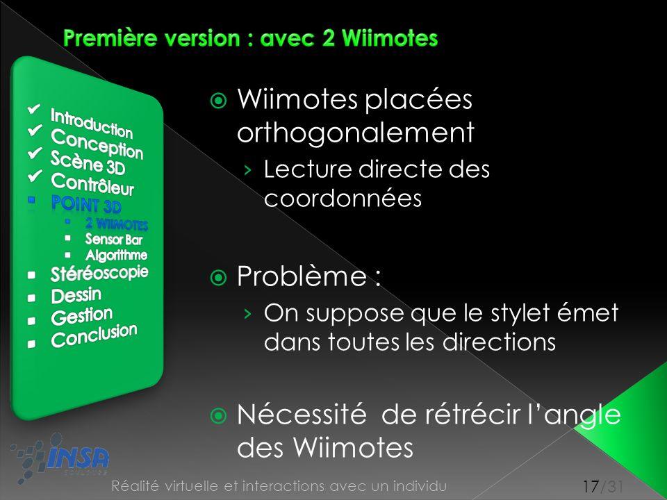 17/31 Réalité virtuelle et interactions avec un individu Wiimotes placées orthogonalement Lecture directe des coordonnées Problème : On suppose que le