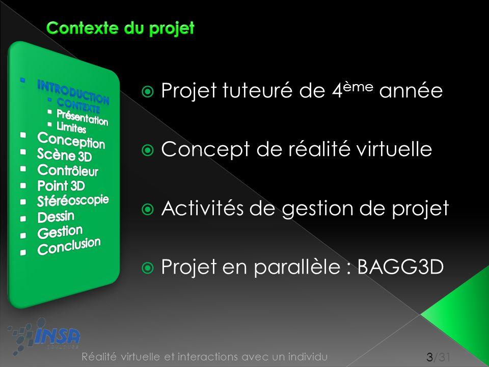 3/31 Réalité virtuelle et interactions avec un individu Projet tuteuré de 4 ème année Concept de réalité virtuelle Activités de gestion de projet Proj