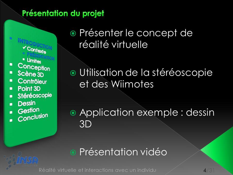 4/31 Réalité virtuelle et interactions avec un individu Présenter le concept de réalité virtuelle Utilisation de la stéréoscopie et des Wiimotes Appli
