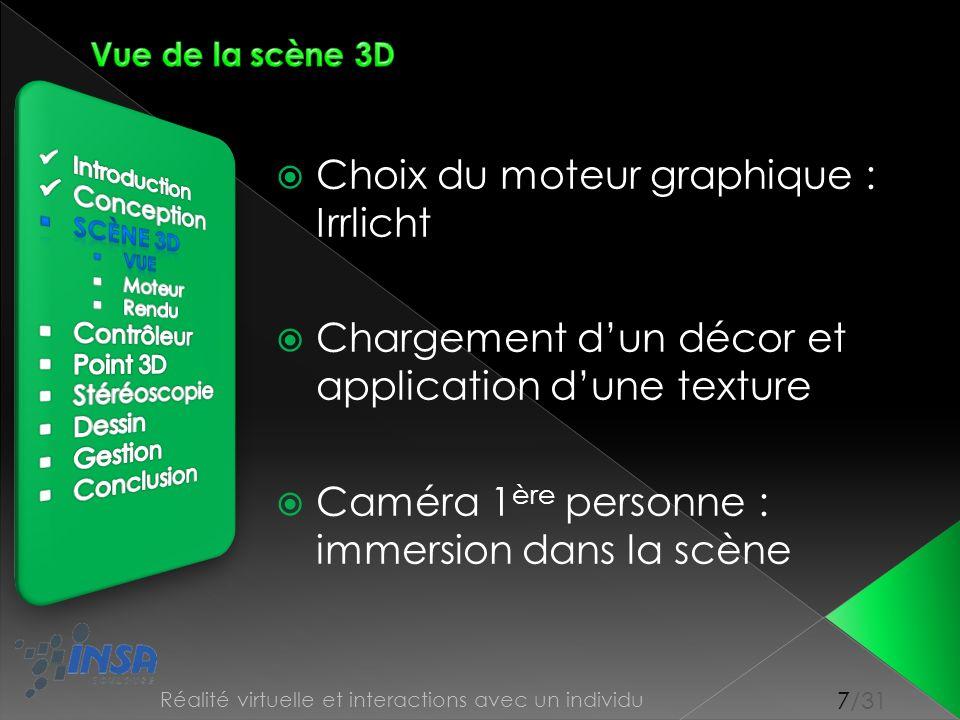 7/31 Réalité virtuelle et interactions avec un individu Choix du moteur graphique : Irrlicht Chargement dun décor et application dune texture Caméra 1