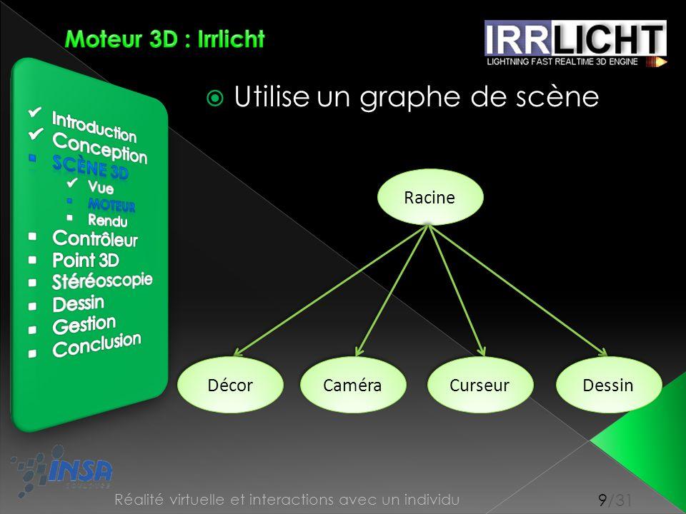 10/31 Réalité virtuelle et interactions avec un individu A la charge du moteur Utilisation dOpenGL Rendu en 3 étapes : préparation, pré-rendu, rendu Utilisation transparente pour le développeur