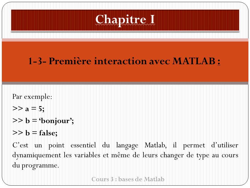 1-3- Première interaction avec MATLAB : Par exemple: >> a = 5; >> b = bonjour ; >> b = false; C est un point essentiel du langage Matlab, il permet d utiliser dynamiquement les variables et même de leurs changer de type au cours du programme.