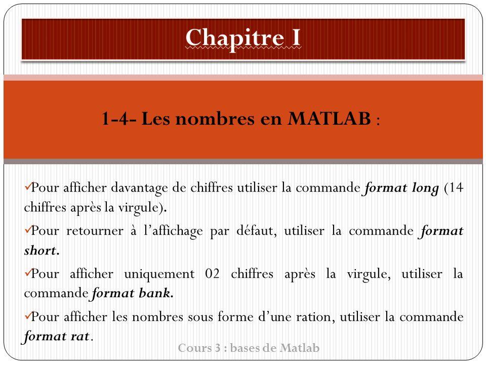 1-4- Les nombres en MATLAB : Pour afficher davantage de chiffres utiliser la commande format long (14 chiffres après la virgule).