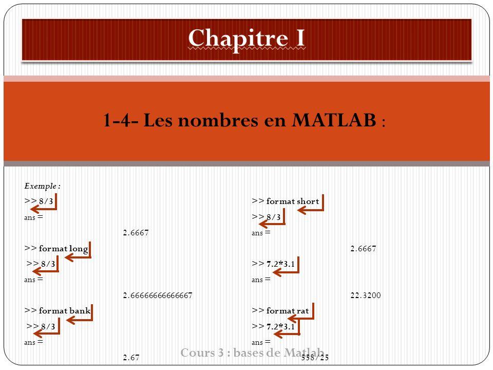 1-4- Les nombres en MATLAB : Exemple : >> 8/3 ans = 2.6667 >> format long >> 8/3 ans = 2.66666666666667 >> format bank >> 8/3 ans = 2.67 Cours 3 : bases de Matlab >> format short >> 8/3 ans = 2.6667 >> 7.2*3.1 ans = 22.3200 >> format rat >> 7.2*3.1 ans = 558/25