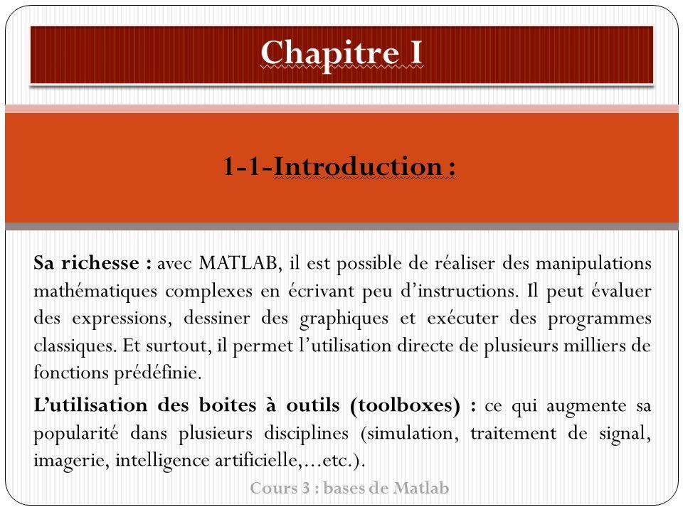 1-1-Introduction : Sa richesse : avec MATLAB, il est possible de réaliser des manipulations mathématiques complexes en écrivant peu dinstructions.