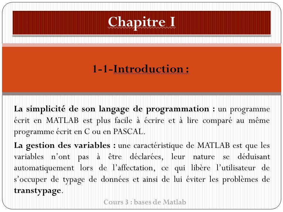 1-1-Introduction : La simplicité de son langage de programmation : un programme écrit en MATLAB est plus facile à écrire et à lire comparé au même programme écrit en C ou en PASCAL.