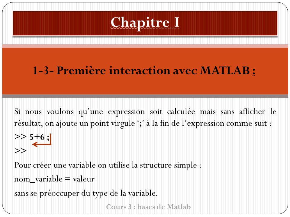 1-3- Première interaction avec MATLAB : Si nous voulons quune expression soit calculée mais sans afficher le résultat, on ajoute un point virgule ; à la fin de l expression comme suit : >> 5+6 ; >> Pour créer une variable on utilise la structure simple : nom_variable = valeur sans se préoccuper du type de la variable.