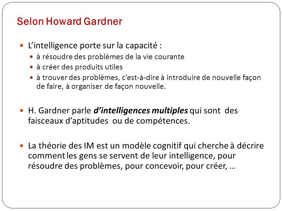 Selon Howard Gardner Lintelligence porte sur la capacité : à résoudre des problèmes de la vie courante à créer des produits utiles à trouver des probl