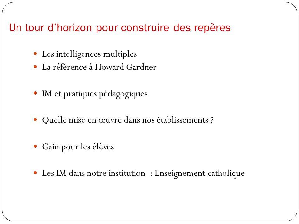 Un tour dhorizon pour construire des repères Les intelligences multiples La référence à Howard Gardner IM et pratiques pédagogiques Quelle mise en œuv