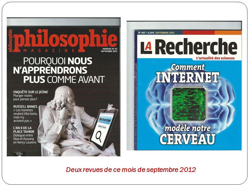 Deux revues de ce mois de septembre 2012