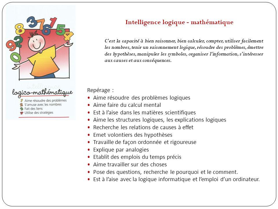 Intelligence logique - mathématique Cest la capacité à bien raisonner, bien calculer, compter, utiliser facilement les nombres, tenir un raisonnement
