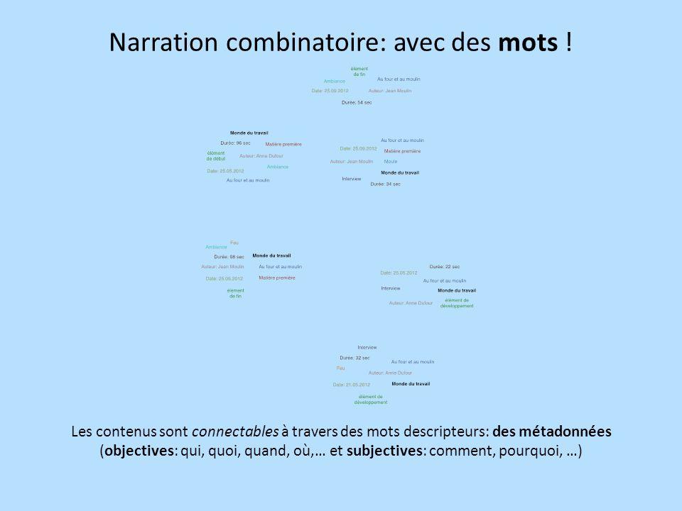 Narration combinatoire: avec des mots .