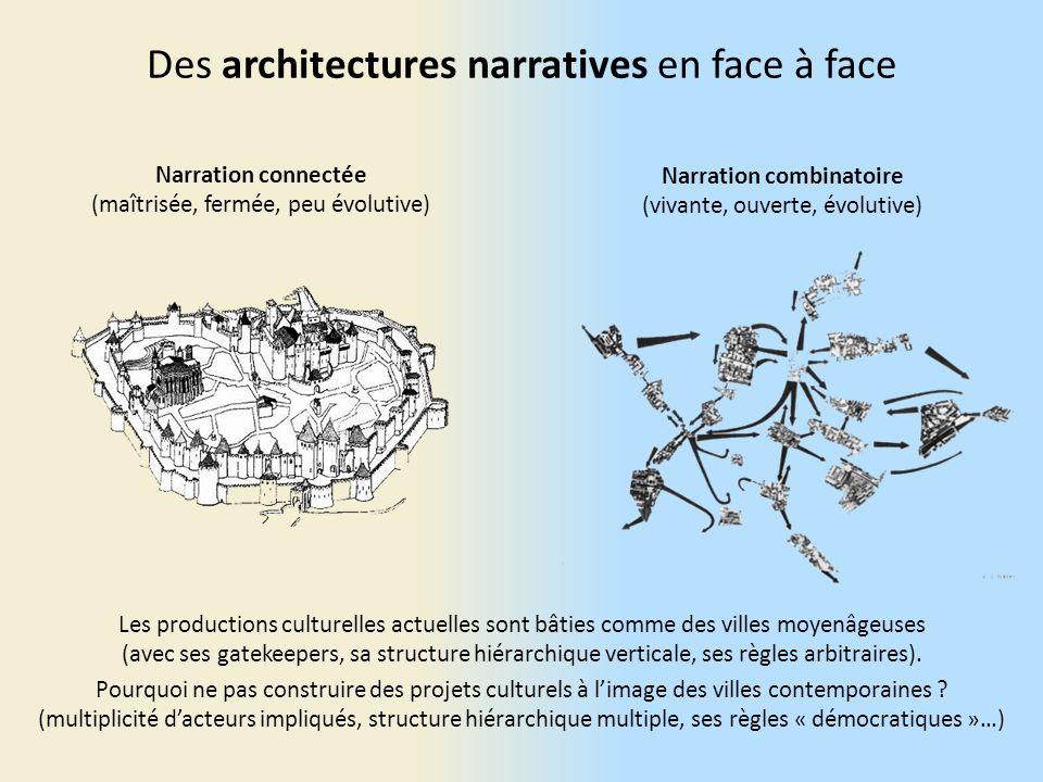 Des architectures narratives en face à face Les productions culturelles actuelles sont bâties comme des villes moyenâgeuses (avec ses gatekeepers, sa structure hiérarchique verticale, ses règles arbitraires).