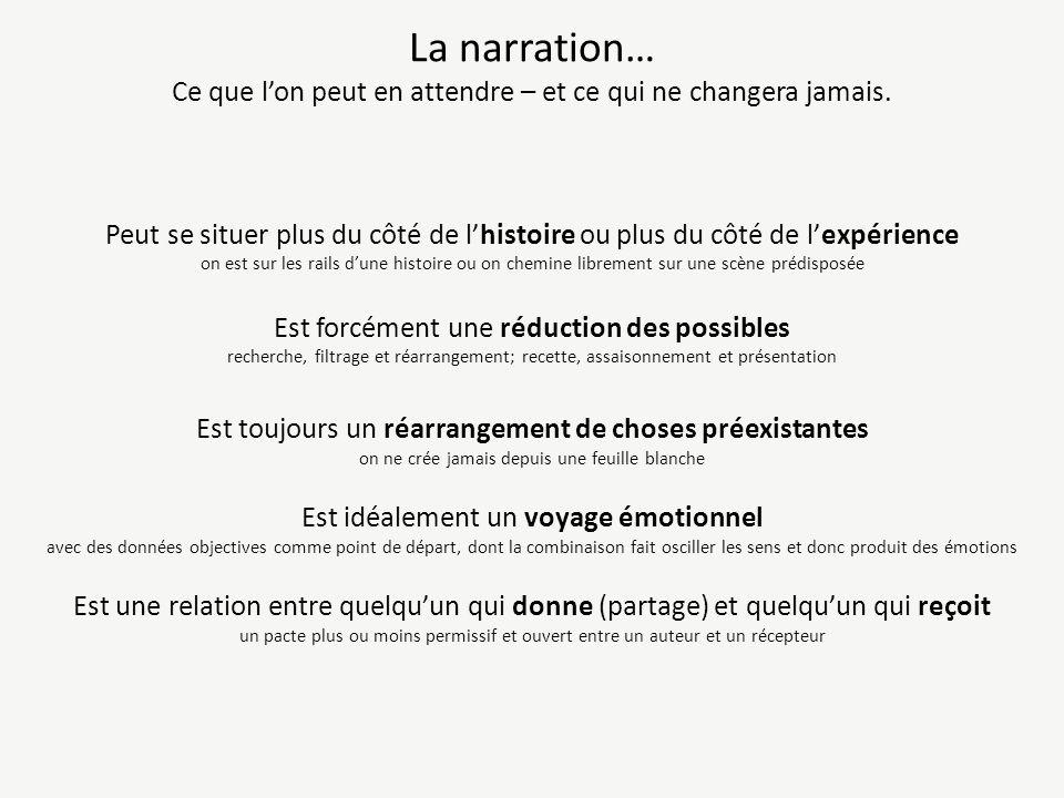 La narration… Ce que lon peut en attendre – et ce qui ne changera jamais.