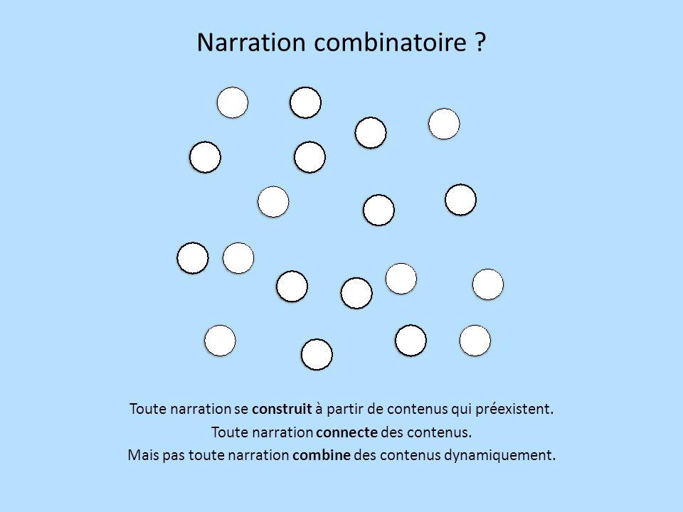 Narration combinatoire: une histoire de chemins Une narration combinatoire est un chemin particulier à travers un ensemble structuré de contenus (une base de données, la mémoire dun projet).