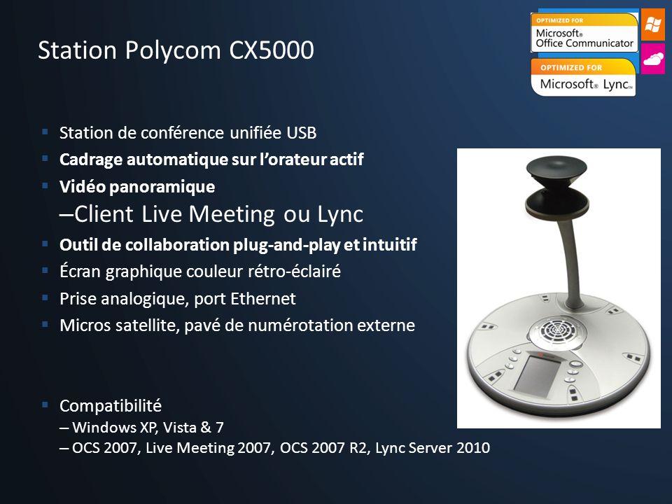 Station de conférence unifiée USB Cadrage automatique sur lorateur actif Vidéo panoramique – Client Live Meeting ou Lync Outil de collaboration plug-a