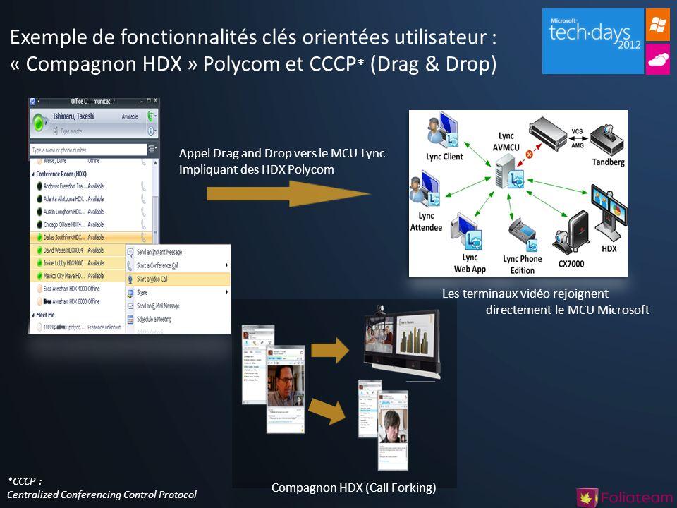 Exemple de fonctionnalités clés orientées utilisateur : « Compagnon HDX » Polycom et CCCP * (Drag & Drop) Compagnon HDX (Call Forking) Les terminaux v