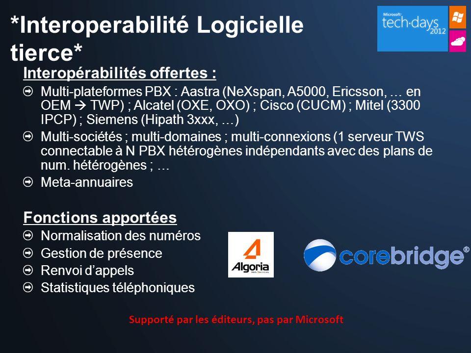 Interopérabilités offertes : Multi-plateformes PBX : Aastra (NeXspan, A5000, Ericsson, … en OEM TWP) ; Alcatel (OXE, OXO) ; Cisco (CUCM) ; Mitel (3300