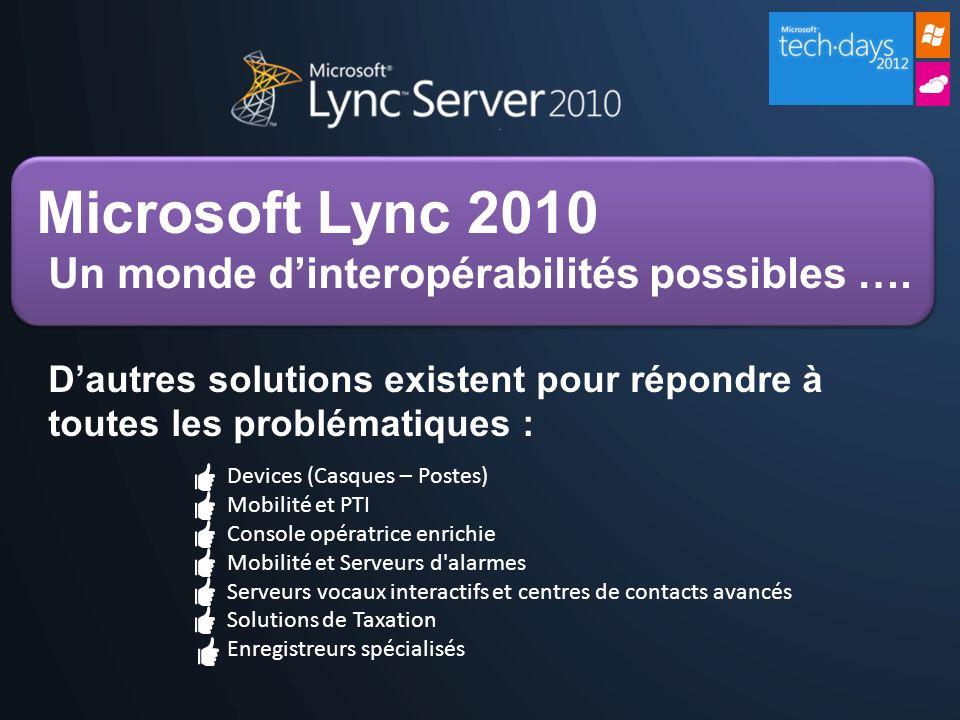 Microsoft Lync 2010 Un monde dinteropérabilités possibles …. Dautres solutions existent pour répondre à toutes les problématiques : Devices (Casques –