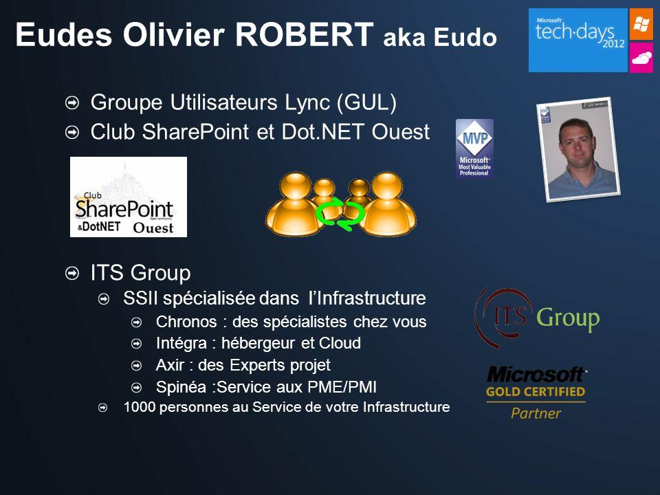 Groupe Utilisateurs Lync (GUL) Club SharePoint et Dot.NET Ouest ITS Group SSII spécialisée dans lInfrastructure Chronos : des spécialistes chez vous I