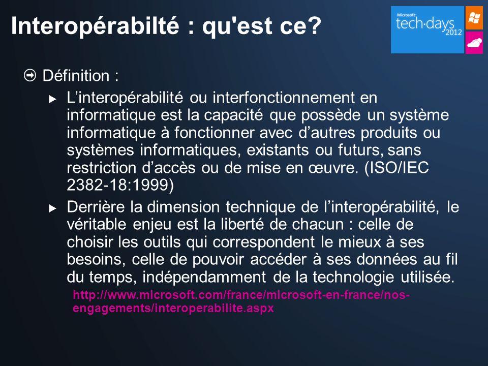 Définition : Linteropérabilité ou interfonctionnement en informatique est la capacité que possède un système informatique à fonctionner avec dautres p