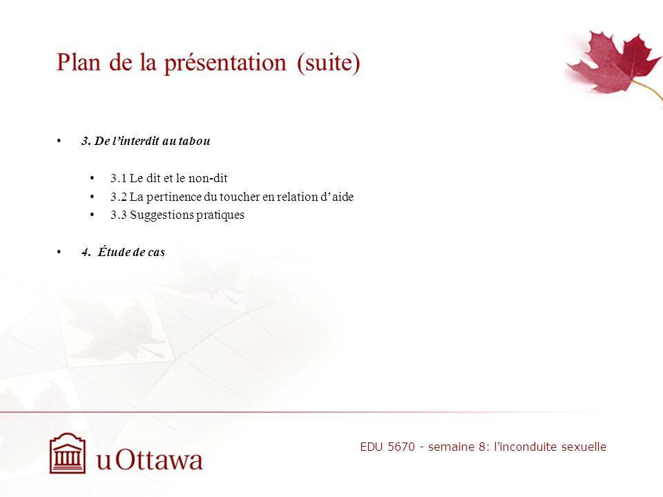 Plan de la présentation 1. Attirance sexuelle: perspectives des intervenants et gestion des risques 1.1 Lattirance sexuelle et relation daide 1.2 Les
