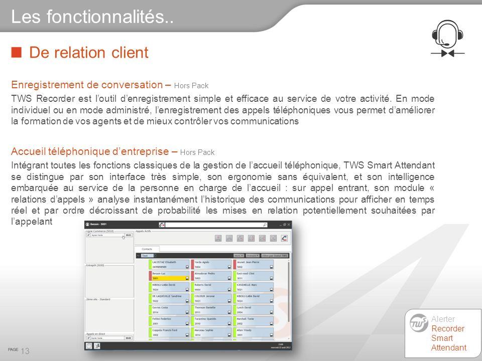 De relation client 13 Les fonctionnalités.. Enregistrement de conversation – Hors Pack TWS Recorder est loutil denregistrement simple et efficace au s
