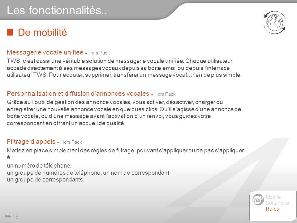 De mobilité 15 Les fonctionnalités.. Messagerie vocale unifiée – Hors Pack TWS, cest aussi une véritable solution de messagerie vocale unifiée. Chaque