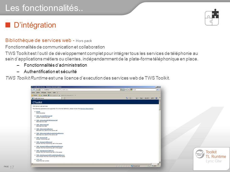 Dintégration 17 Les fonctionnalités.. Bibliothèque de services web - Hors pack Fonctionnalités de communication et collaboration TWS Toolkit est louti