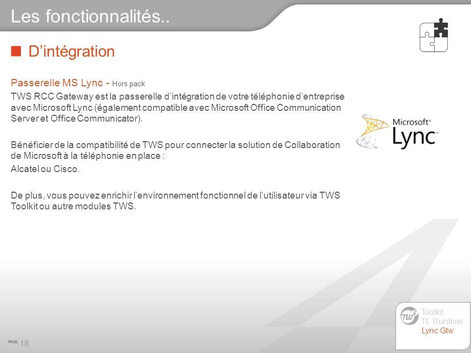 Dintégration 18 Les fonctionnalités.. Passerelle MS Lync - Hors pack TWS RCC Gateway est la passerelle dintégration de votre téléphonie dentreprise av