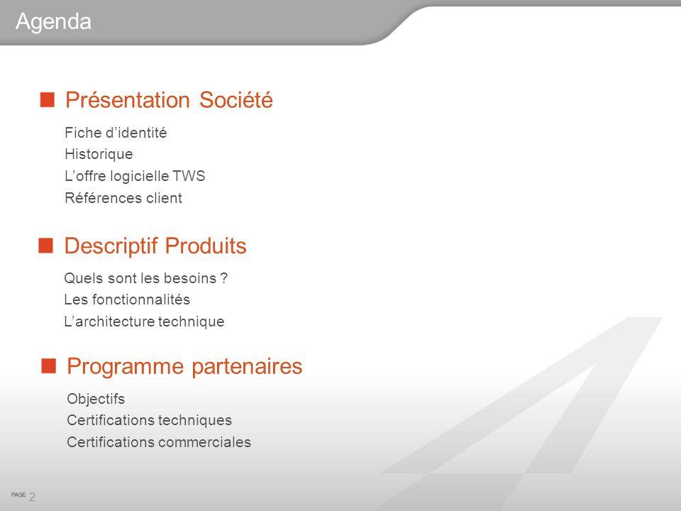 2 Présentation Société Fiche didentité Historique Loffre logicielle TWS Références client Descriptif Produits Agenda Quels sont les besoins ? Les fonc