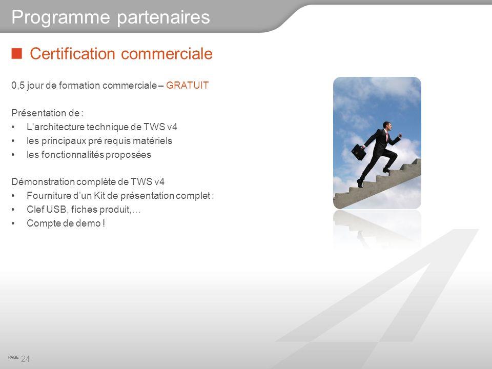 Certification commerciale 0,5 jour de formation commerciale – GRATUIT Présentation de : L'architecture technique de TWS v4 les principaux pré requis m
