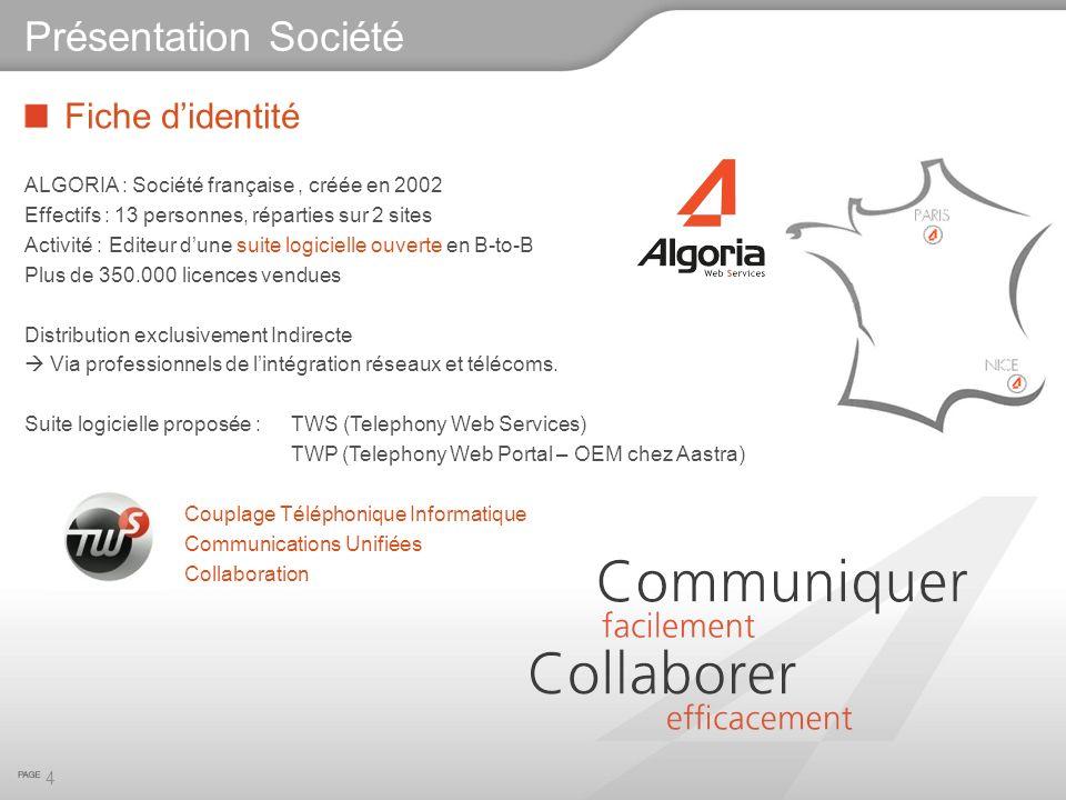 Fiche didentité ALGORIA : Société française, créée en 2002 Effectifs : 13 personnes, réparties sur 2 sites Activité : Editeur dune suite logicielle ou