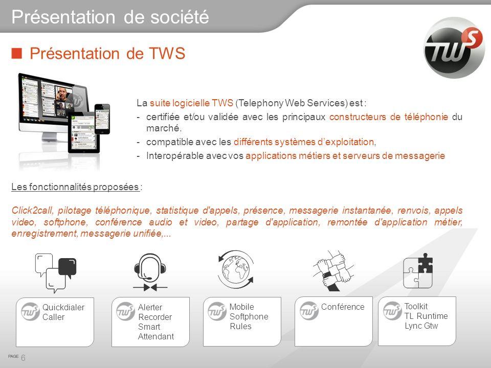 Présentation de TWS La suite logicielle TWS (Telephony Web Services) est : -certifiée et/ou validée avec les principaux constructeurs de téléphonie du