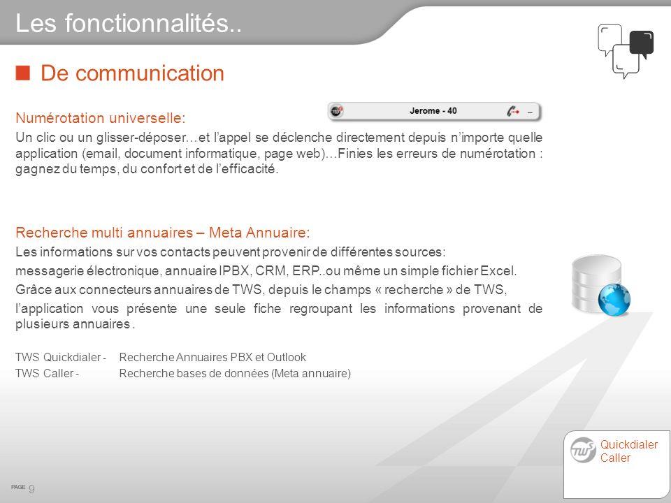 Modes de connexions o PBX : VTI-XML, ATPC3, CSTA (Phases 1, 2 et 3), CSTA-XML, UA-CSTA, JTAPI, MiTAI, – ex: Utilisateurs 1 et 2 o Postes : UA-CSTA – ex: Utilisateur 3 20 Larchitecture technique CSTA / VTI-XML/ ATPC3 / JTAPI / MITAI / UA-CSTA UA-CSTA Utilisateur 3 Utilisateur 2 Utilisateur 1 Serveur TWS IPBX / Call server