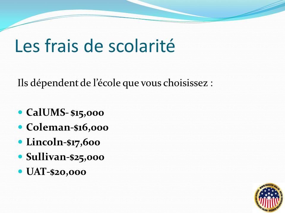Les frais de scolarité Ils dépendent de lécole que vous choisissez : CalUMS- $15,000 Coleman-$16,000 Lincoln-$17,600 Sullivan-$25,000 UAT-$20,000