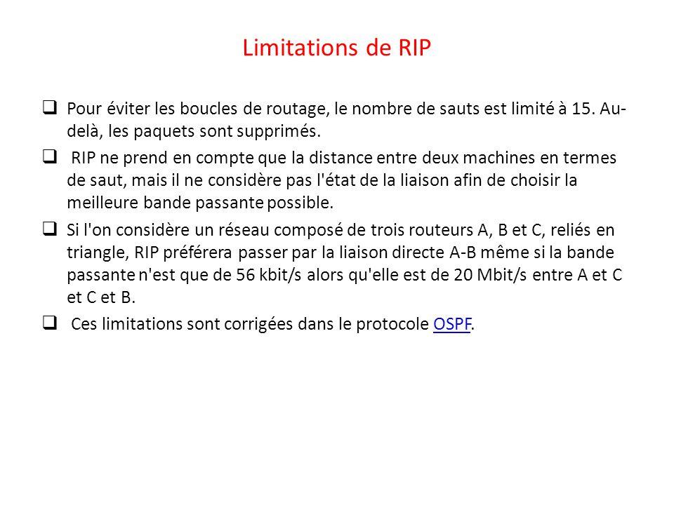 Limitations de RIP Pour éviter les boucles de routage, le nombre de sauts est limité à 15. Au- delà, les paquets sont supprimés. RIP ne prend en compt