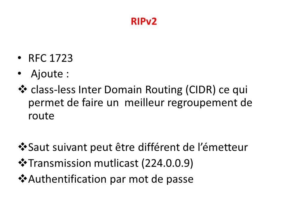 RIPv2 RFC 1723 Ajoute : class-less Inter Domain Routing (CIDR) ce qui permet de faire un meilleur regroupement de route Saut suivant peut être différe