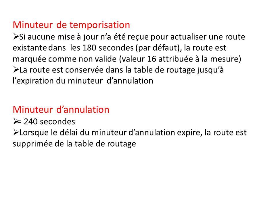 Minuteur de temporisation Si aucune mise à jour na été reçue pour actualiser une route existante dans les 180 secondes (par défaut), la route est marq