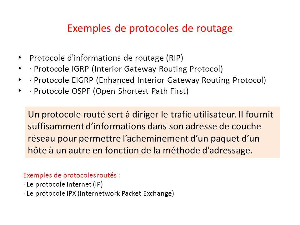 Exemples de protocoles de routage Protocole d'informations de routage (RIP) · Protocole IGRP (Interior Gateway Routing Protocol) · Protocole EIGRP (En