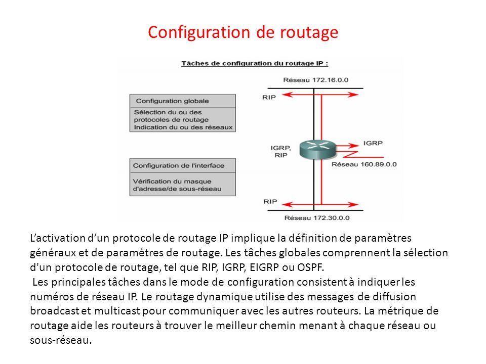Configuration de routage Lactivation dun protocole de routage IP implique la définition de paramètres généraux et de paramètres de routage. Les tâches