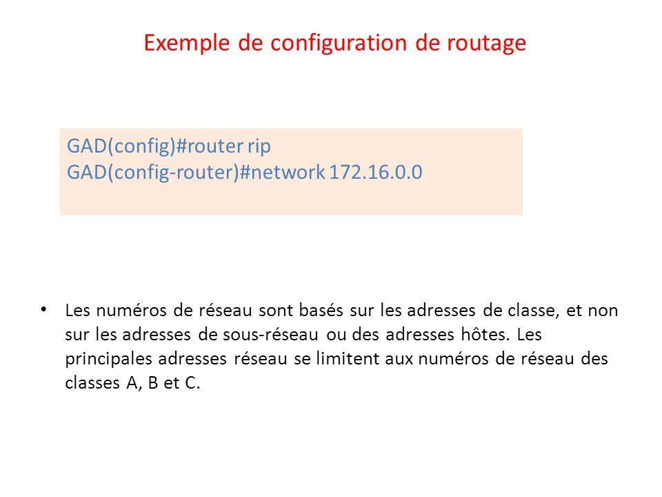 Exemple de configuration de routage Les numéros de réseau sont basés sur les adresses de classe, et non sur les adresses de sous-réseau ou des adresse
