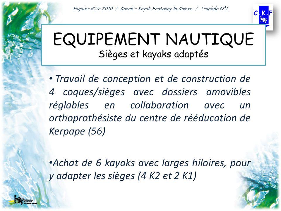 EQUIPEMENT NAUTIQUE Sièges et kayaks adaptés Travail de conception et de construction de 4 coques/sièges avec dossiers amovibles réglables en collaboration avec un orthoprothésiste du centre de rééducation de Kerpape (56) Achat de 6 kayaks avec larges hiloires, pour y adapter les sièges (4 K2 et 2 K1) Pagaies dOr 2010 / Canoë – Kayak Fontenay le Comte / Trophée N°1