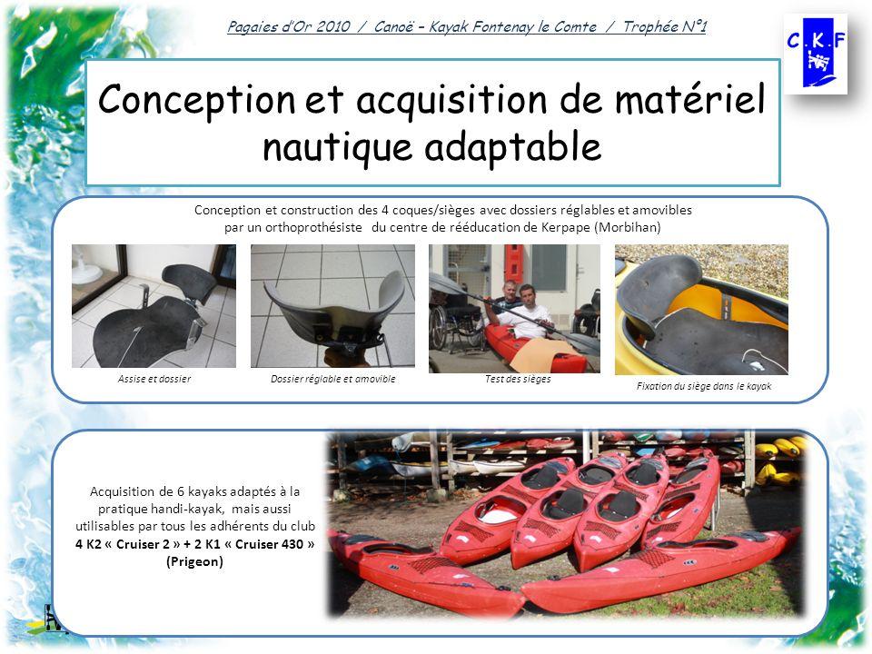 Conception et acquisition de matériel nautique adaptable Pagaies dOr 2010 / Canoë – Kayak Fontenay le Comte / Trophée N°1 Conception et construction des 4 coques/sièges avec dossiers réglables et amovibles par un orthoprothésiste du centre de rééducation de Kerpape (Morbihan) Acquisition de 6 kayaks adaptés à la pratique handi-kayak, mais aussi utilisables par tous les adhérents du club 4 K2 « Cruiser 2 » + 2 K1 « Cruiser 430 » (Prigeon) Assise et dossierDossier réglable et amovibleTest des sièges Fixation du siège dans le kayak