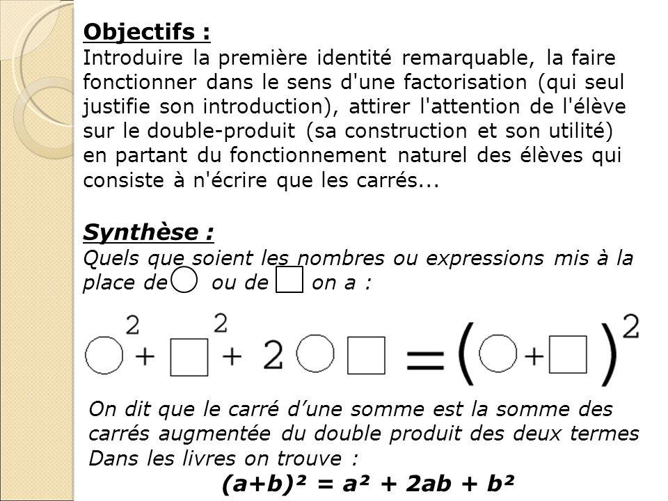 Objectifs : Introduire la première identité remarquable, la faire fonctionner dans le sens d'une factorisation (qui seul justifie son introduction), a
