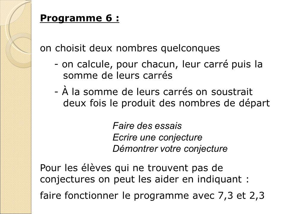 Programme 6 : on choisit deux nombres quelconques - on calcule, pour chacun, leur carré puis la somme de leurs carrés - À la somme de leurs carrés on