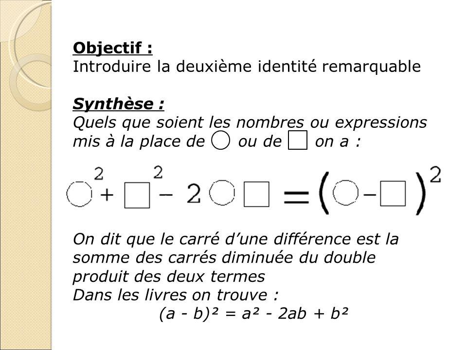 Objectif : Introduire la deuxième identité remarquable Synthèse : Quels que soient les nombres ou expressions mis à la place de ou de on a : On dit qu