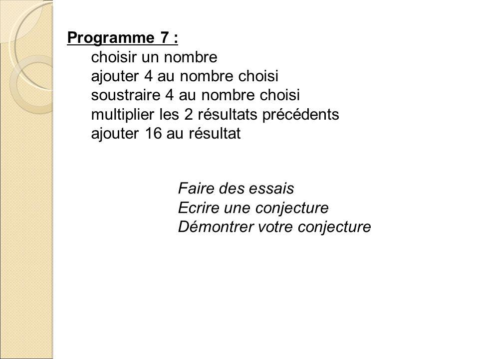 Programme 7 : choisir un nombre ajouter 4 au nombre choisi soustraire 4 au nombre choisi multiplier les 2 résultats précédents ajouter 16 au résultat