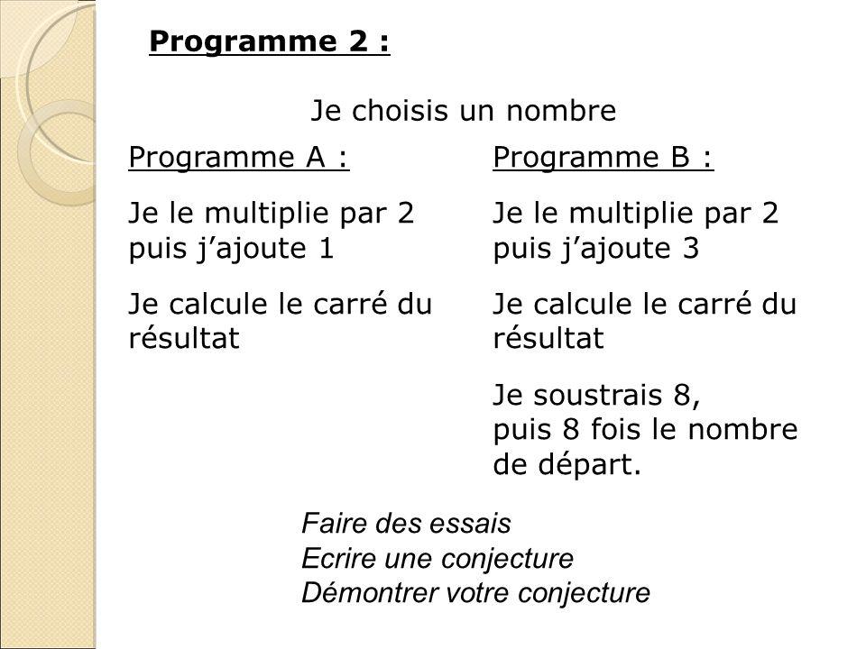 Programme 2 : Je choisis un nombre Programme A : Je le multiplie par 2 puis jajoute 1 Je calcule le carré du résultat Programme B : Je le multiplie pa